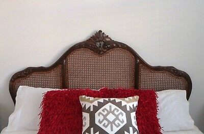 French Provincial Mahogany Timber and Rattan Queen Size Bedhead