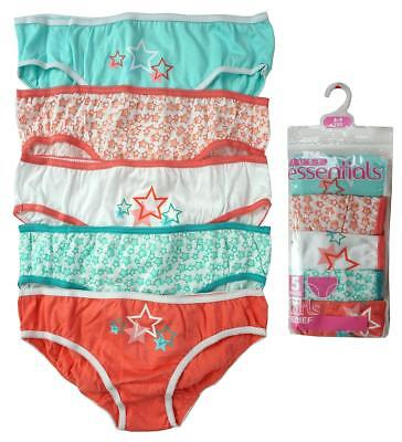 Girls Knickers Value 5 Pack Briefs Coral/Mint Stars Pants Kids 2 to 13 Years