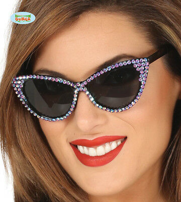 Adult Womens 1950s Glasses With Lilac Rhinestone Effect