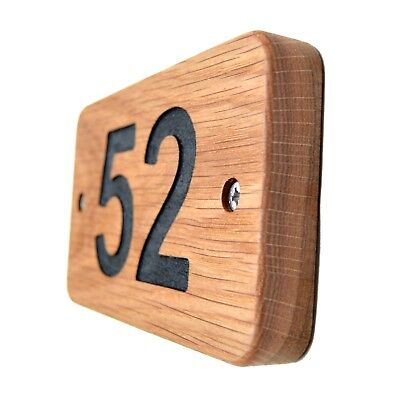 SOLID OAK House Number Plaque WOODEN Sign Door Plate Numbers Wall Display