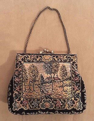 Vintage Needle Point / Tapestry Handbag - Black and colour country home scene