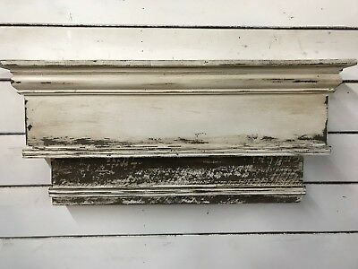 Two tiered distressed Fireplace Mantle,Farmhouse Mantle, 48 inch mantle