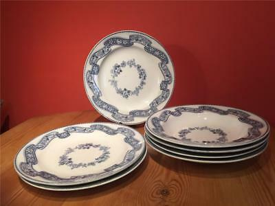 7 x Antique Minton Newstone Ribbon Wreath Blue White Dinner Plates Bowls 1862
