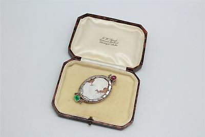 Beautiful Vintage SIGNED CAMEO Ornate Brooch BOXED -13g
