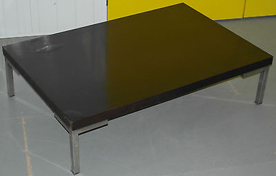 Lovely Stained Mahogany Teak Coffee Table With Solid Chrome Legs Nice Low Piece