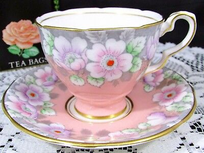 Royal Stafford Pink Hp Floral Garland Tea Cup And Saucer