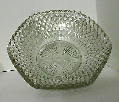 Vintage Anitque Clear Pressed Glass Relish Candy Dish Unusual Rare Pointed Cut