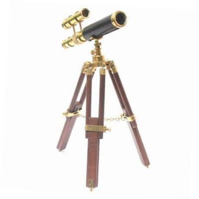 Antique Nautical Vintage Telescope Wooden Tripod Collectible Brass Finish Gift