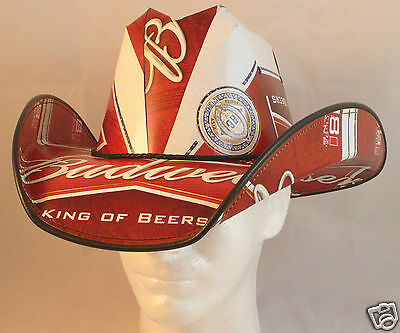 Beer Box Cowboy Hat Made from recycled BUDWEISER boxes NASCAR Party Stetson Frat