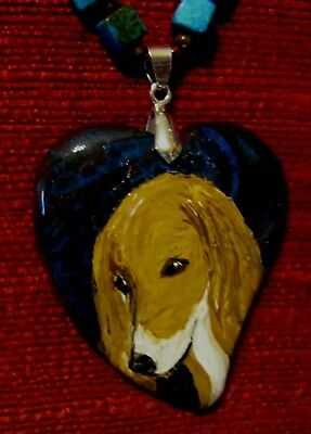 Saluki, red, hand painted on a heart shaped pendant/bead/necklace