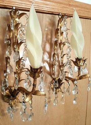 Antique Italian Wall Chandelier Sconces with Brass Leaves & Crystal Pendants