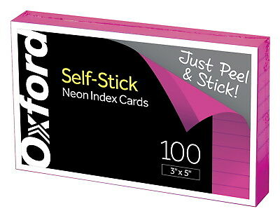 Oxford Self-Stick Index Cards, 3 x 5 inch, Neon Assorted,  pack of 100