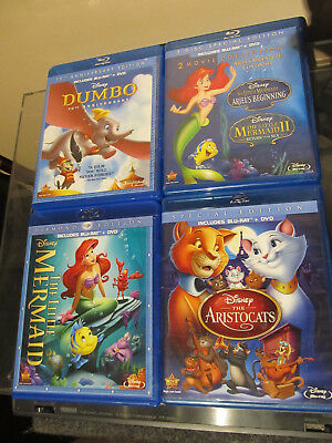 THE LITTLE MERMAID (Blu-ray/DVD 2 Disc Set 2013) Walt Disney Ariel plus 3 more