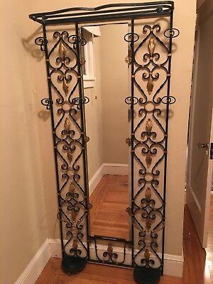 Vintage Wrought Iron Hall Tree with Mirror - Hollywood Regency Style