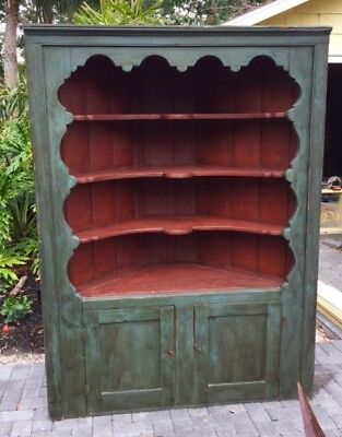 Charming Vintage Painted Corner Cupboard