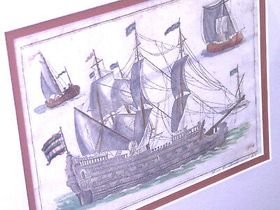 Antique Dutch Sailing Vessel Colored Engraving, Square Sails,18th or 19th c., NR