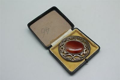 STERLING SILVER STRIPED AGATE BROOCH vintage antique boxed beautiful piece