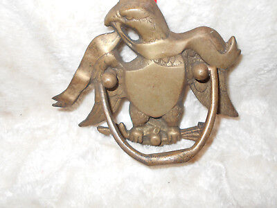 Antique/Vintage Deco:  Heavy Brass Eagle Door Knocker