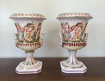 Vintage CAPODIMOTE Italy Porcelain Figural Urn ~ Pair