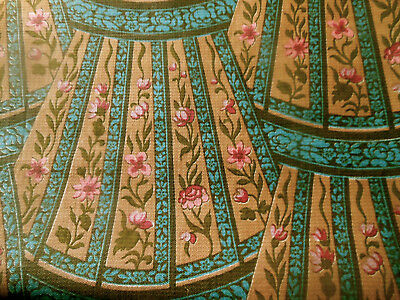 Antique Rare 1920's Deco Floral Cotton Fabric ~ Rose Blue Mocha Olive ~ superb