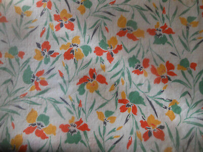Antique Iris Floral Cotton Fabric ~ Tangerine Yellow Green ~ Home Quilts Apparel
