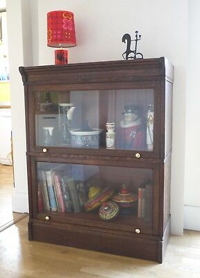Vintage Globe Wernicke style barrister's bookcase. Large 2 section dislay case
