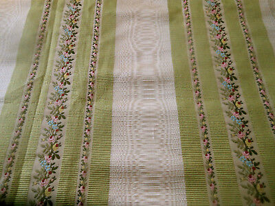 Antique Roses Floral Lisere Moire Brocade Silk Fabric ~ Green Blue Pink ~ dolls