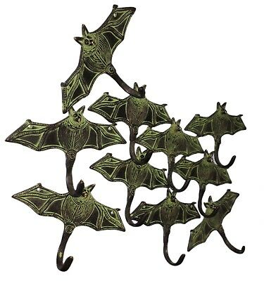 Antique styled 10 Attractive Brass Made Unique BAT Designed coat hooks India