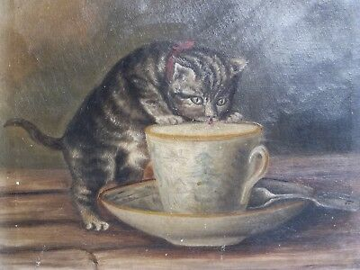 Medium Size Oil Painting of a Kitten Having Tea. 10x12 inches