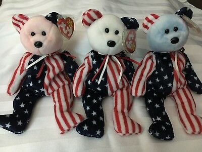 Spangle Ty Beanie Babies Red White Blue w/ tag error rare mint condition