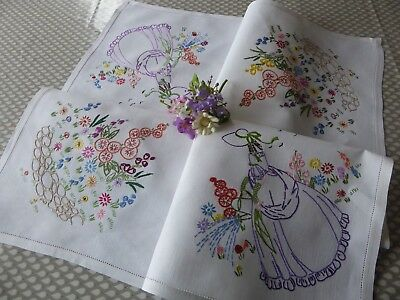 Vintage Hand Embroidered Tablecloth/ Charming Crinoline Ladies & Gardens