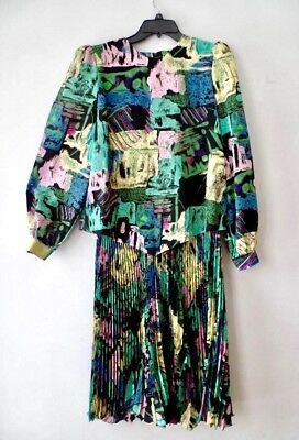 True Vintage Retro 70s 80s Chez Peplum Pleat Abstract Art Dress Woman's L 14 14W
