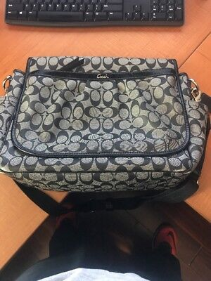 Coach Black & Grey Coated Canvas Baby Diaper Bag Tote 18373
