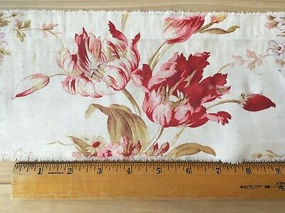 Antique French Fabric Floral Pink Roses Tulips Vintage Material Remnant