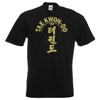 ITF Taekwondo T-Shirt GOLD on Black Performance/Cotton Kicking Man Martial Arts