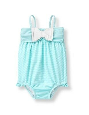 Janie And Jack Baby Girls Aqua Striped Bow Bathing Suit Size 0-3 Mos Nwt