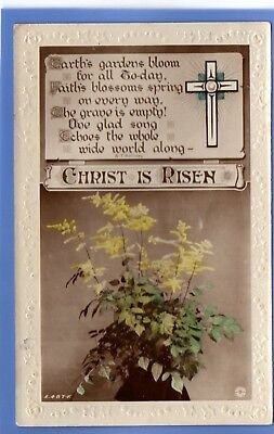 Old Vintage Rp Postcard Easter Christ Is Risen Religious Cross Flowers Greetings