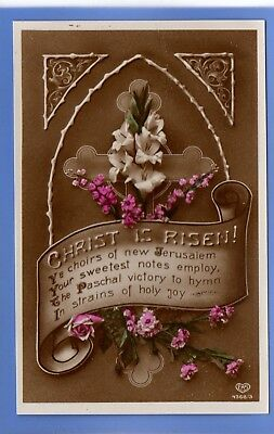 Old Vintage Rp Postcard Easter Greetings Christ Is Risen Flowers Cross