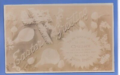 Old Vintage 1908 Rp Postcard Easter Greetings Cross Flowers Christ Is Risen