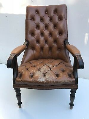 Vintage Aged Brown Worn Leather Chesterfield Library Reading Armchair