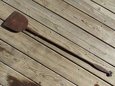 primitive 18thc antique rat tail wrought iorn hearth fireplace peel aafa forged