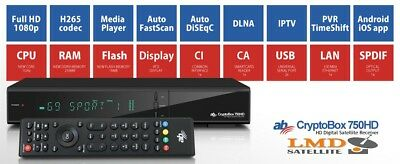 ***NEW***AB CryptoBox 750 HD DVB-S/S2 H265 Full HD 1080p CI CA LAN IPTV DLNA PVR