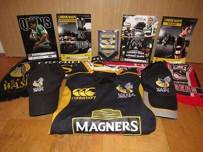 London Wasps Rugby Replica Shirt and assorted Memorabilia