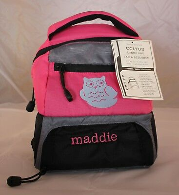 Pottery Barn Kids lunch bag Colton style mono name Maddie pink silver owl