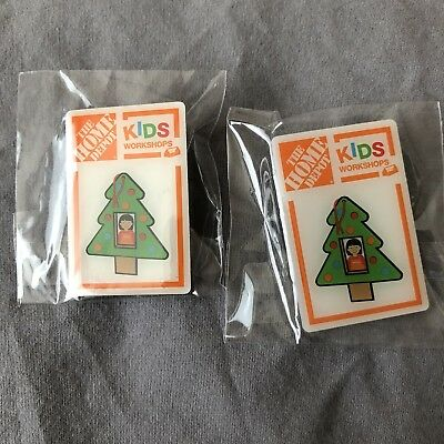 The Home Depot Kids Workshops Pin Christmas Tree Ornament Lot 2 New In Packaging