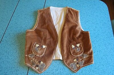 Vintage 60's/70's Brown Corduroy Vest With Appliqued Acorns, Small, Boho