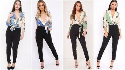 Womens Ladies Tailored Paisley Scarf Print Plunge Neck Wrap Over Jumpsuit Romper