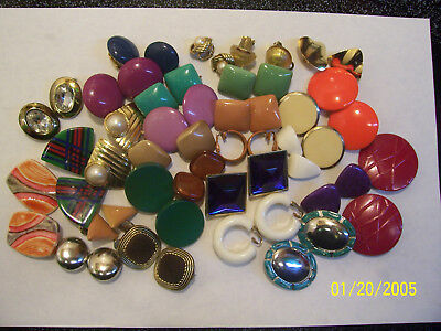 Vintage/modern Lot Of 28 Pair Colorful Clip On Earrings Wear Or Craft