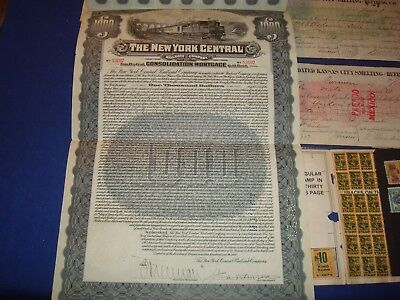Gold Bond Lot,The New York Central RR, Revenue, Checks, Stock Receipts