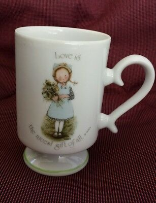 """Holly Hobbie 1974 Coffee Mug """"Love is the nicest gift of all"""" Blue Bonnet VGC"""